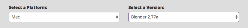 Select a Platform and Select a Version options