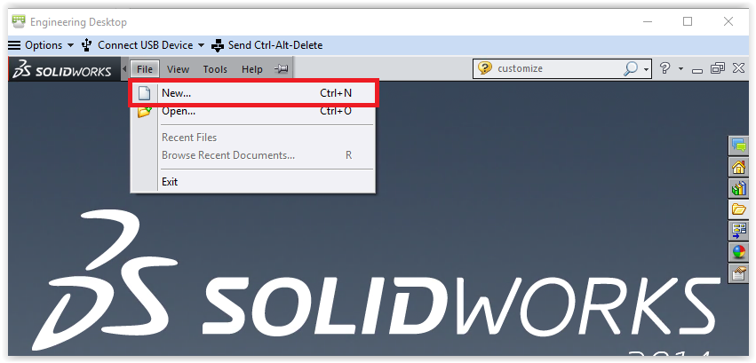 creating a new solidworks file