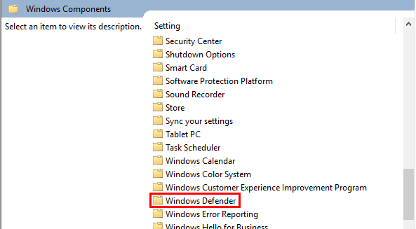 Windows Defender highlighted in the group policy window
