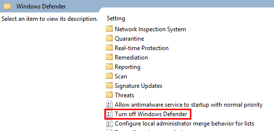 Turn off Windows Defender highlighted in the group policy window