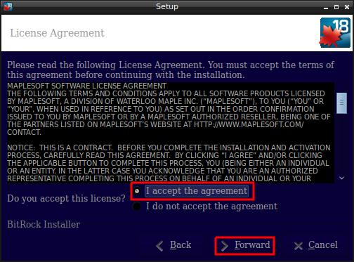 Accepting the License agreement screen