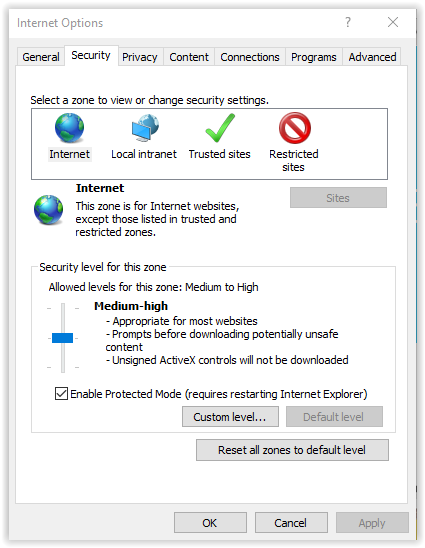 Internet explorer 10 enable javascript grok knowledge base the security tab on the internet options window ccuart Images