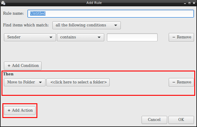 setting actions for Filtered Mail