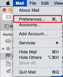 the Mail Preferences option in the mail dropdown menu