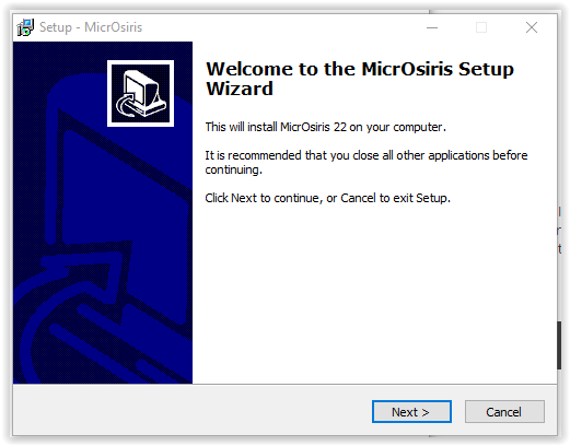 MicroOsiris setup wizard intro screen
