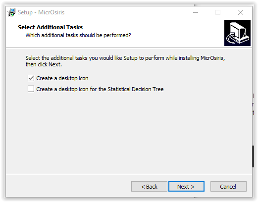 MircOsiris installation process- additional tasks window