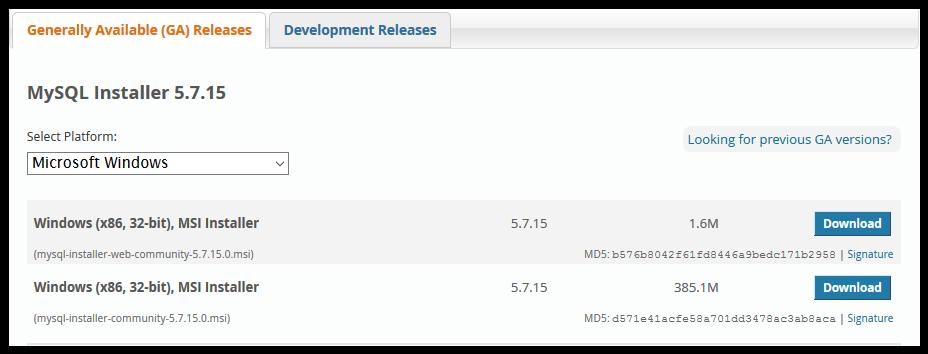 MySQL installer type download