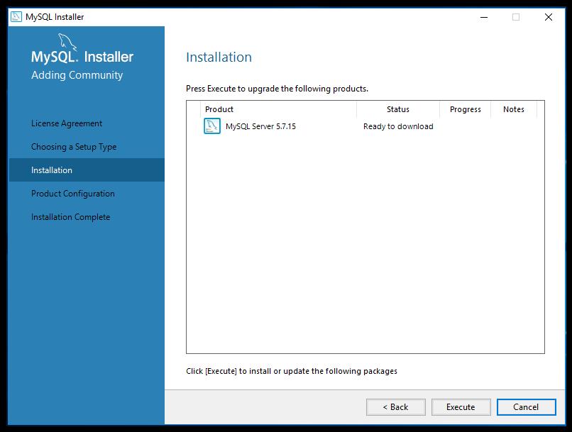 mySQL begin installation screen