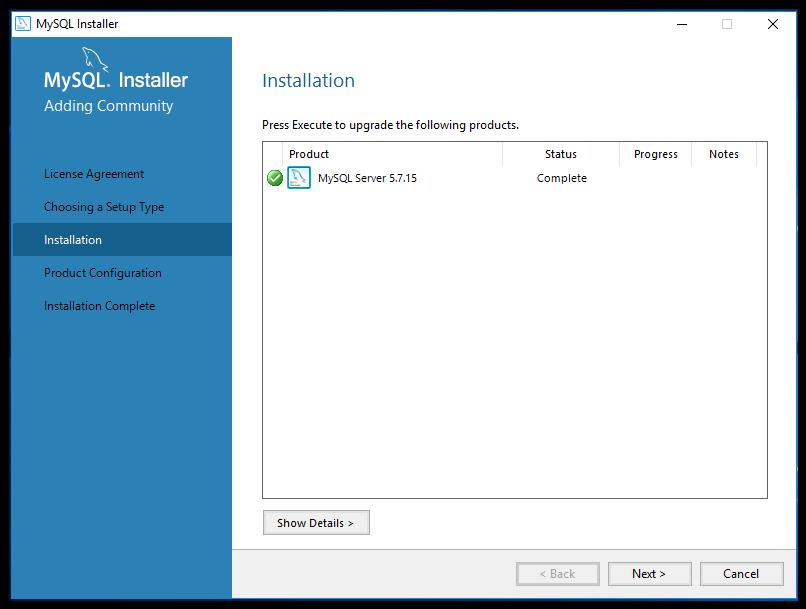 mySQL installation complete screen