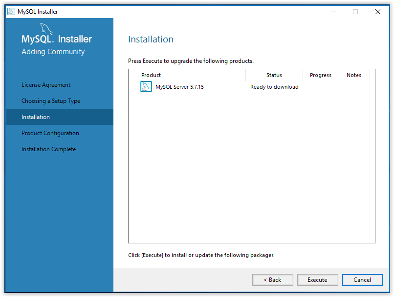 mySQL product configuration screen
