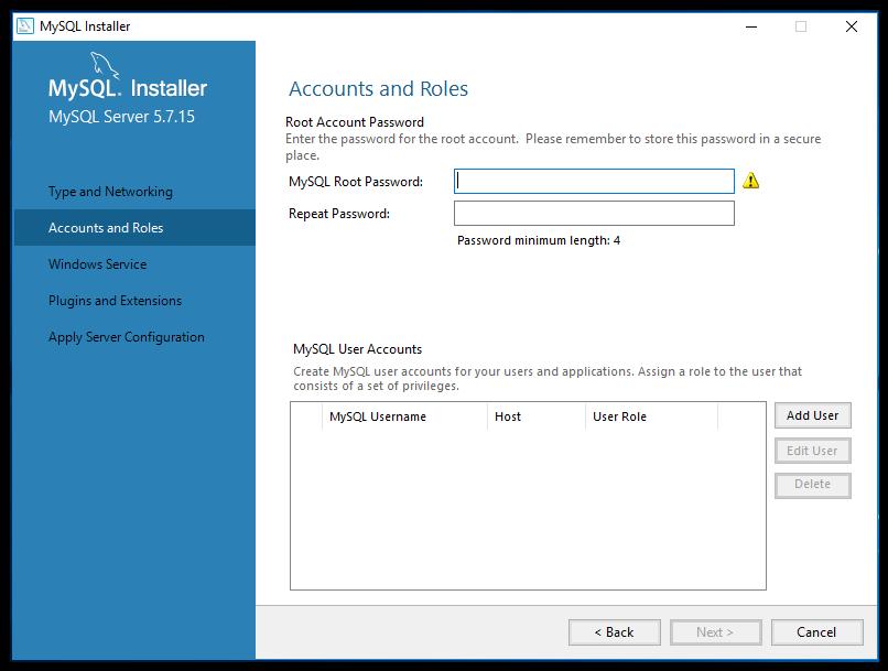 mySQL set account password screen