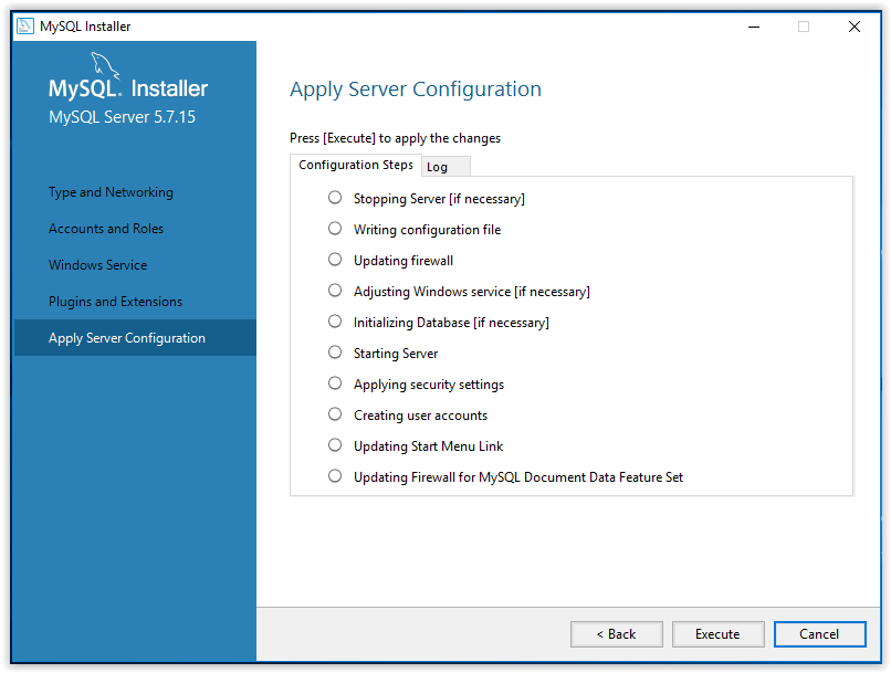 mySQL apply server configuration settings
