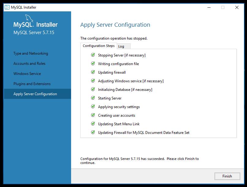 mySQL server configuration complete