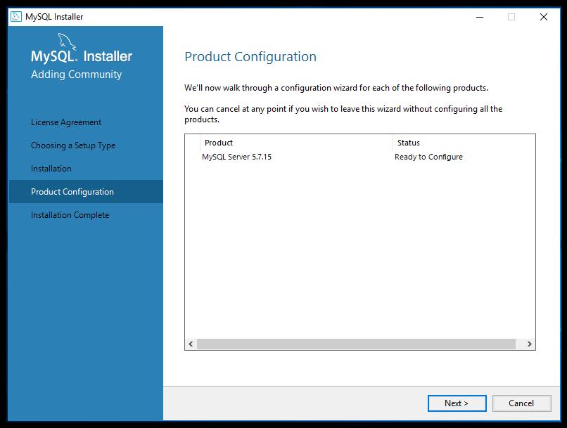 mySQL product configuration