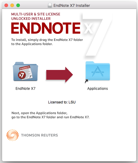 EndNote folder to be dragged to Applications folders
