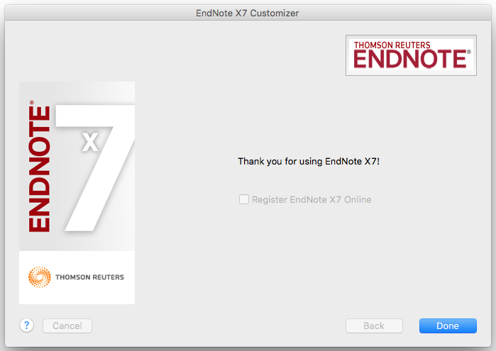 EndNote X7 Customizer