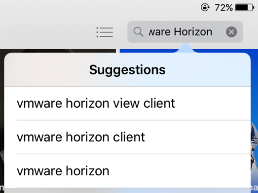 "Searching the term ""VMware horizon"" in the app store."