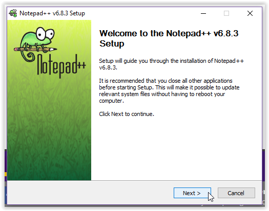 Notepad ++ welcome screen for installation