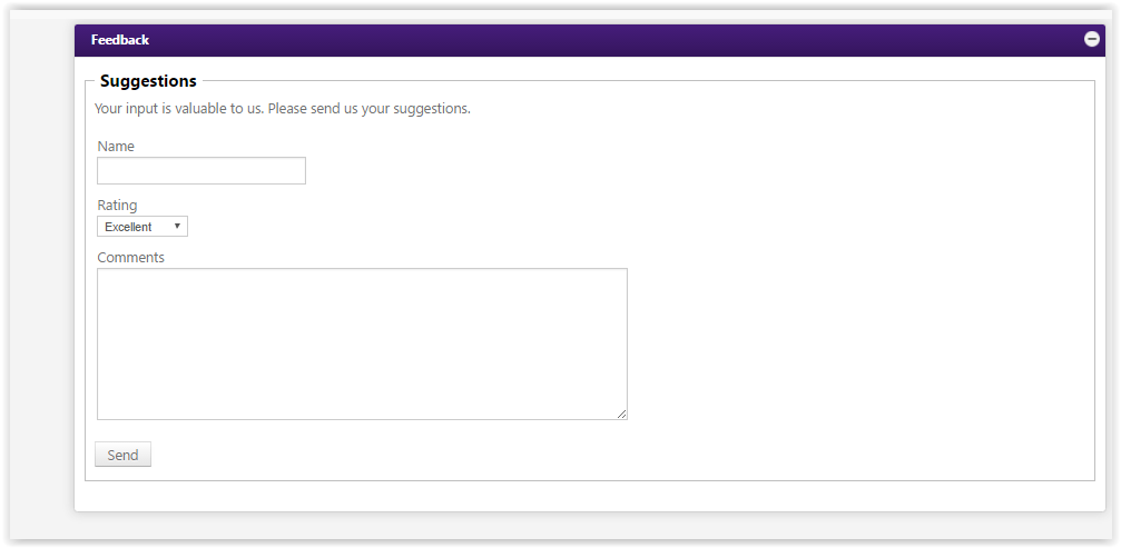 the entry form for giving feedback to the myLSU Portal group