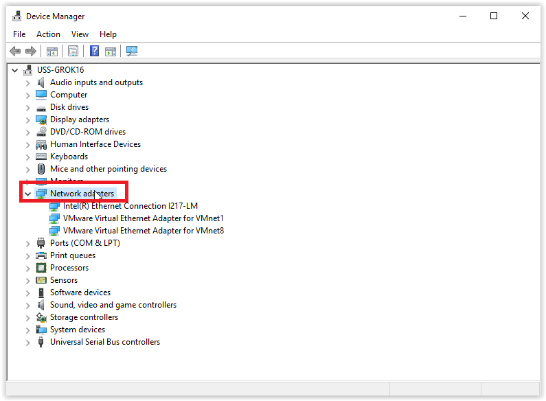 the device manager window with network adapters selected