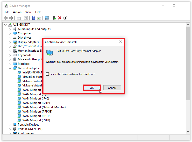 Device Manager making sure you want to uninstall a Network Adapter