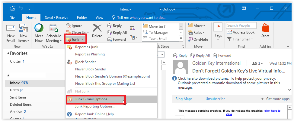 Outlook 2016: Block Senders - GROK Knowledge Base