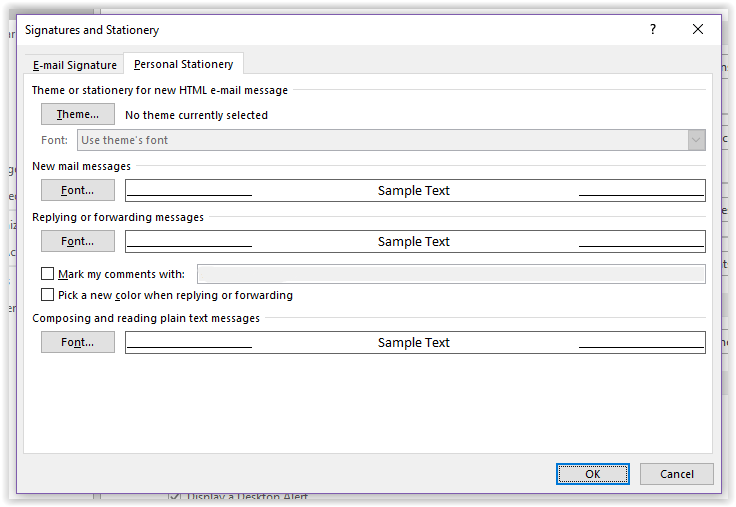 Outlook 2016: Using Personal Stationary - GROK Knowledge Base