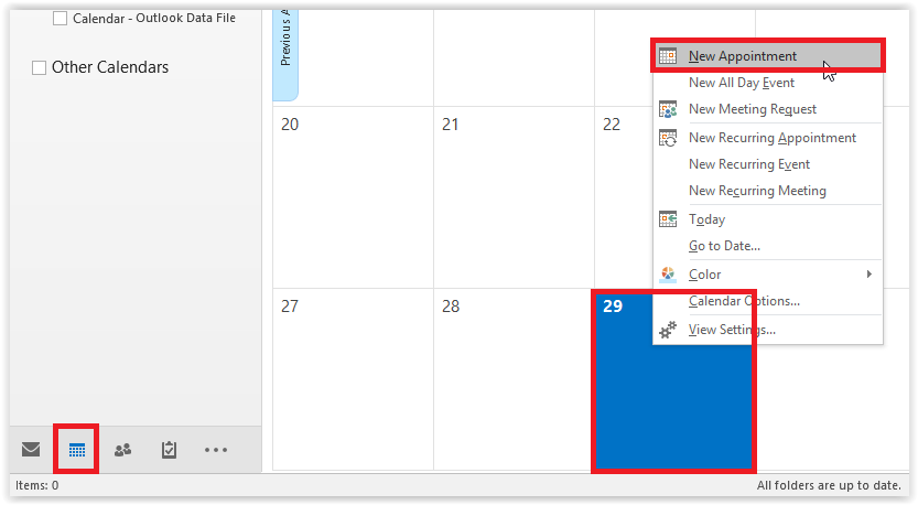 Calendar View screen with new appointment highlighted in the calendar menu.