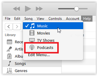 the podcasts option in drop down menu