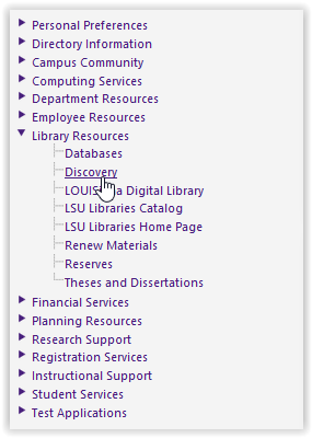 myLSU Discovery link on  the library resources drop-down menu