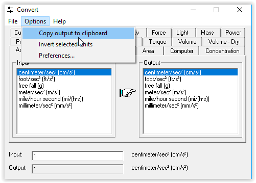 copy output to clipboard command on the options toolbar.