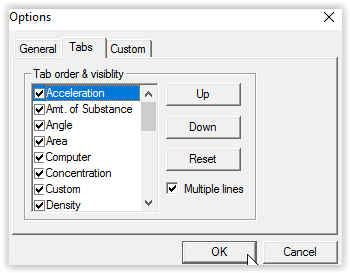 tabs tab on the options dialog box.