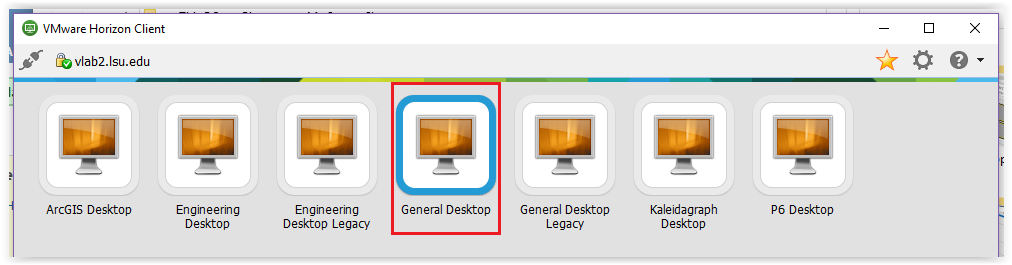 Logging into General Desktop from the list of available desktops