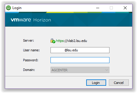 Log into the LSU Server in VLab