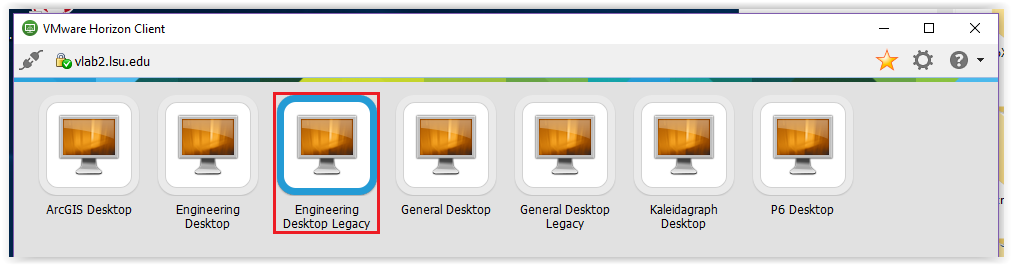 Logging into Engineering Desktop Legacy from the list of available desktops