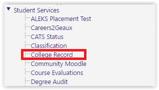 college record option from the left hand panel