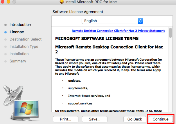 License Agreement window with continue at the bottom right corner.