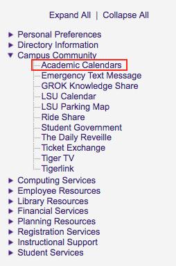 myLSU Portal: Academic Calendar   GROK Knowledge Base