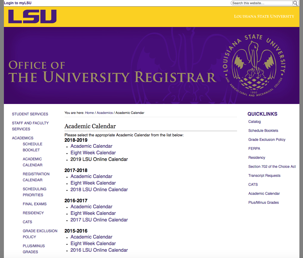 myLSU Portal: Academic Calendar   GROK Knowledge Base