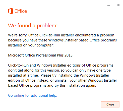 Office error when trying to install multiple Office products on one computer