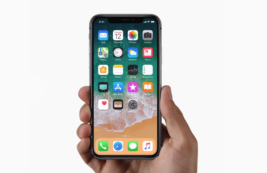 Picture of Apple's iPhone X (iPhone 10) held in hand