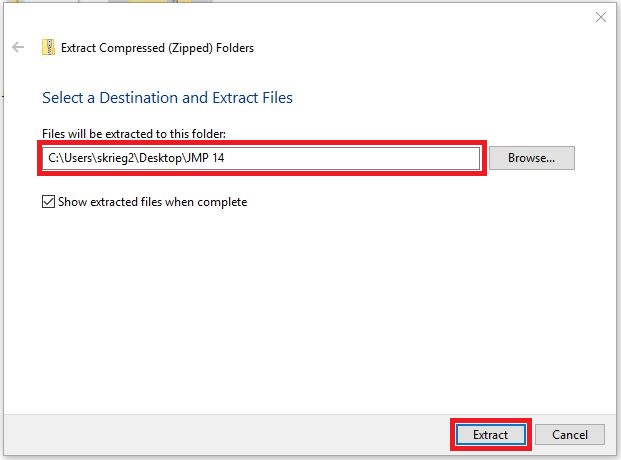 Select a Destination and Extract Files popup window