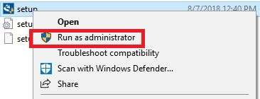 Context menu with run as administrator selected