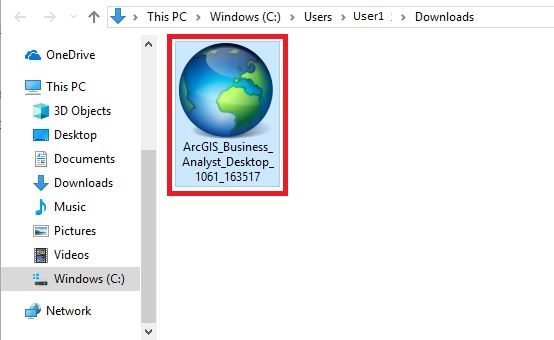 ArcGIS installer, located in the downloads folder