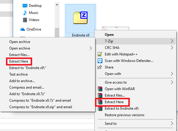 Endnote x9 folder in downloads folder, right click context menu. Extract here highlighted.