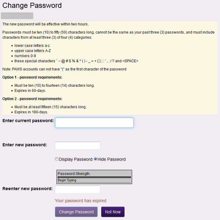 Change password page