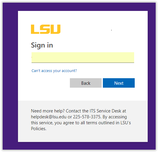 Office 365 LSUMail Sign In screen