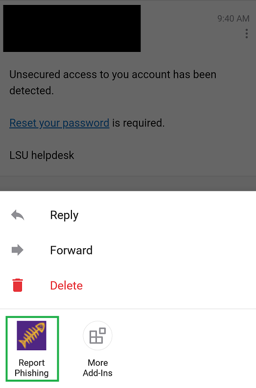 Report Phishing button - Outlook mobile